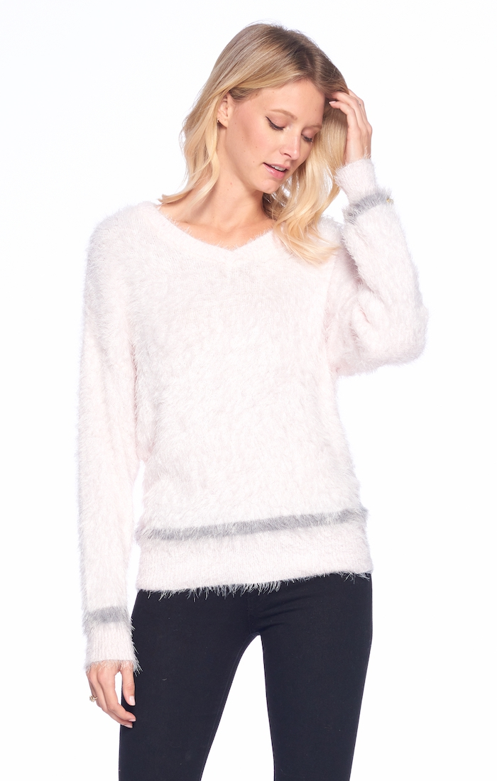 V NECK KNITTED SWEATER LONG SLEEVE - orangeshine.com