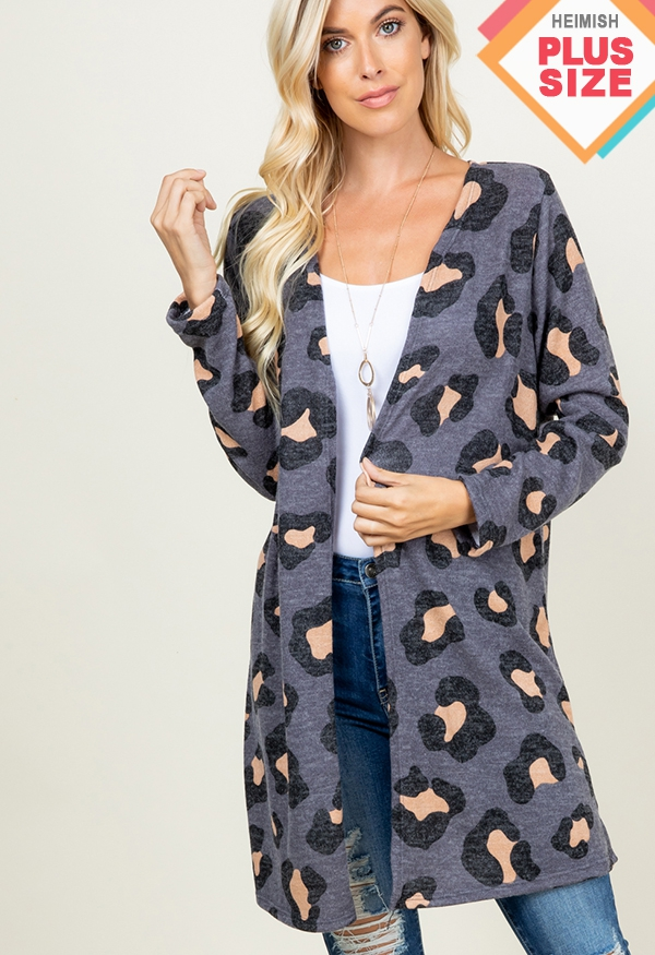 PLUS LEOPARD ANIMAL CARDIGAN - orangeshine.com