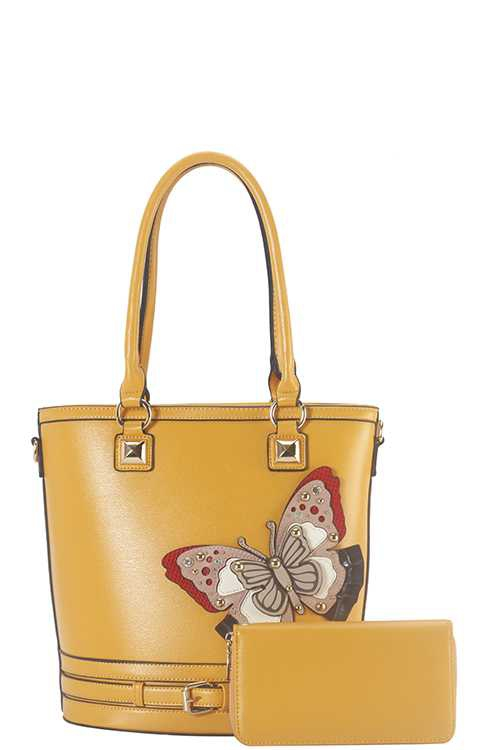 2 IN 1 BUTTERFLY ACCENT TOTE BAG SET - orangeshine.com