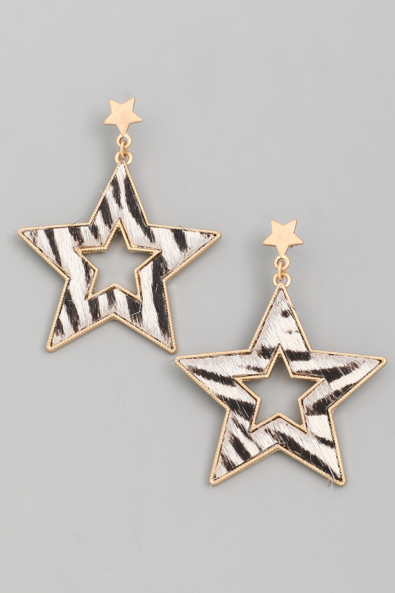 Animal Print Star Drop Earrings - orangeshine.com