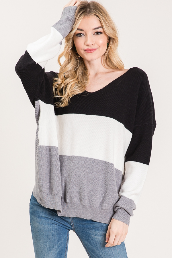 COLOR BLOCK SWEATER WITH TWIST BACK - orangeshine.com