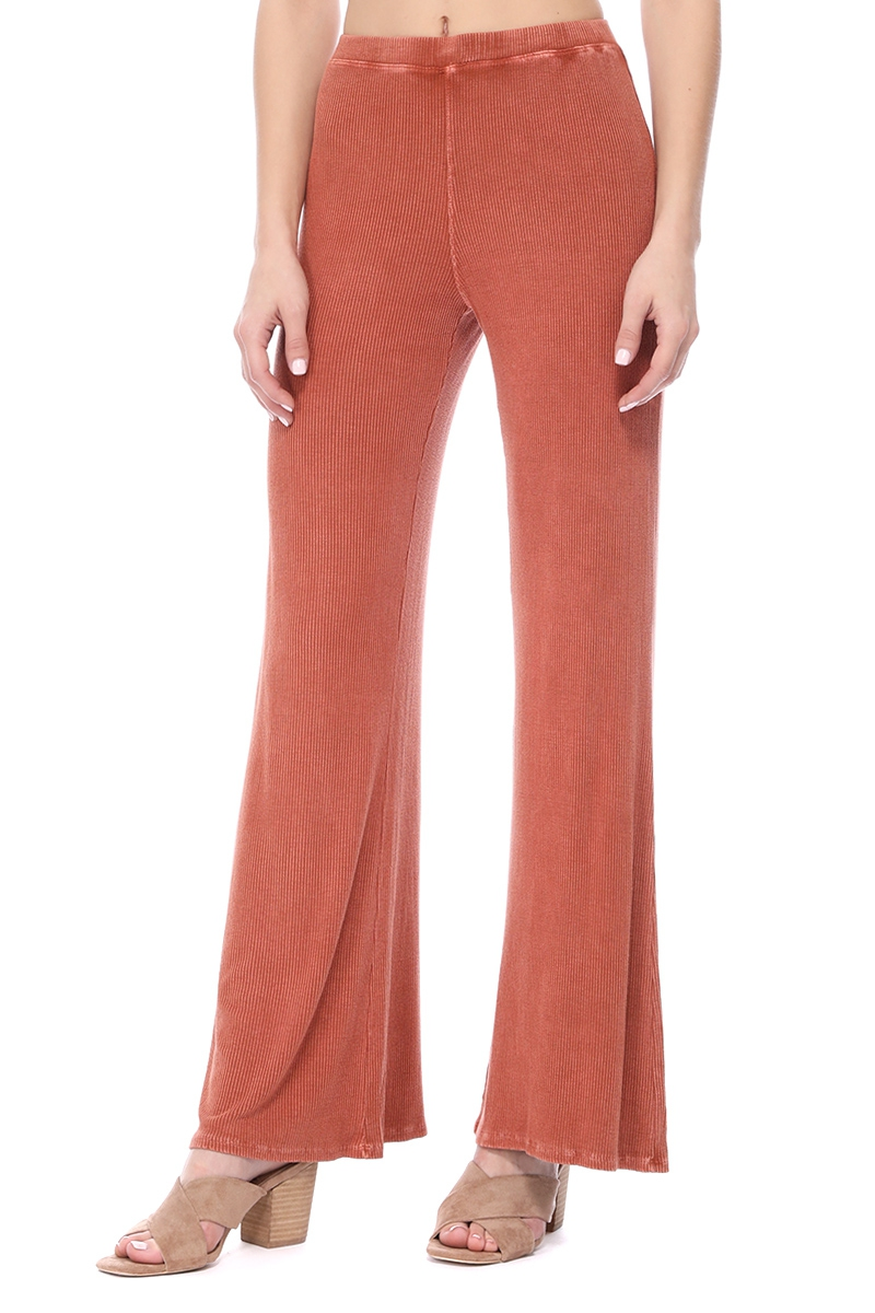 MINERAL RIBBED LONG WIDE PANTS - orangeshine.com