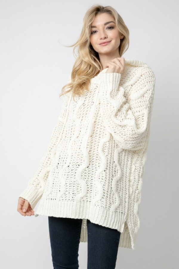 CABLE PATTERN ACCENT PULLOVER SWEATE - orangeshine.com