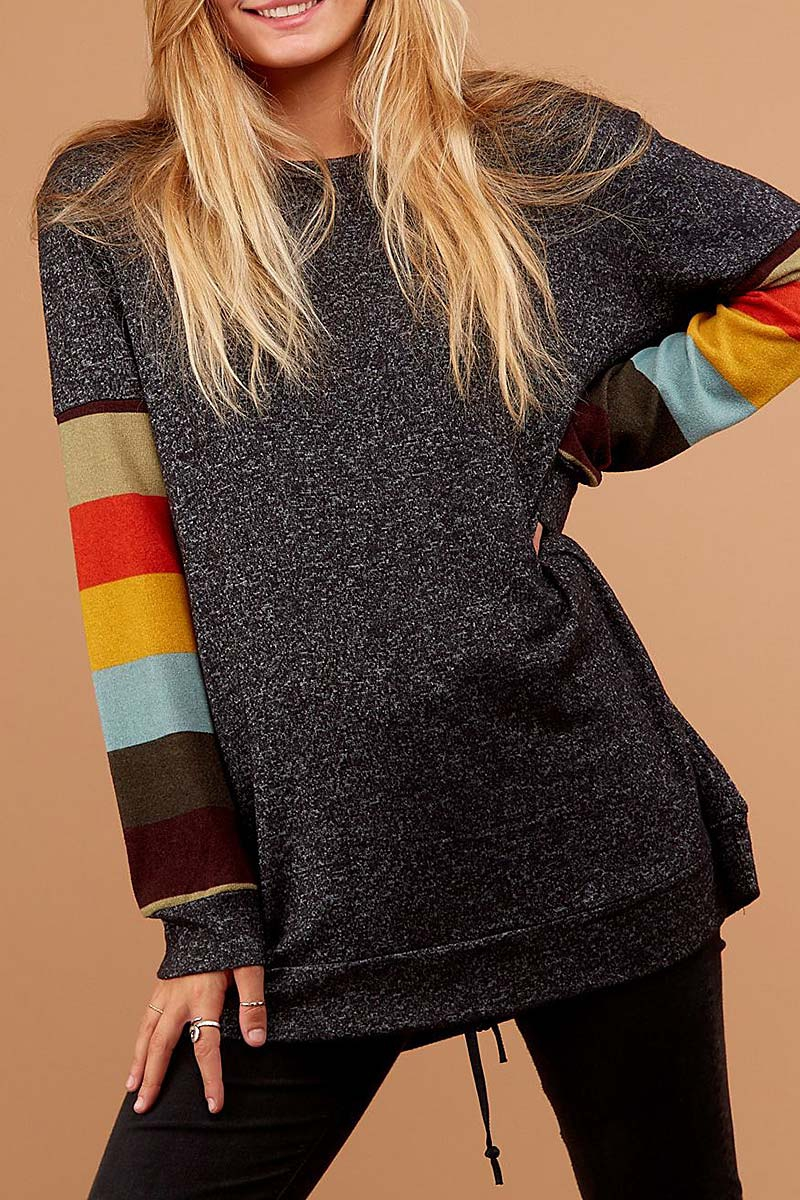 STRIPE SLEEVE COLOR BLOCK SWEATER  - orangeshine.com