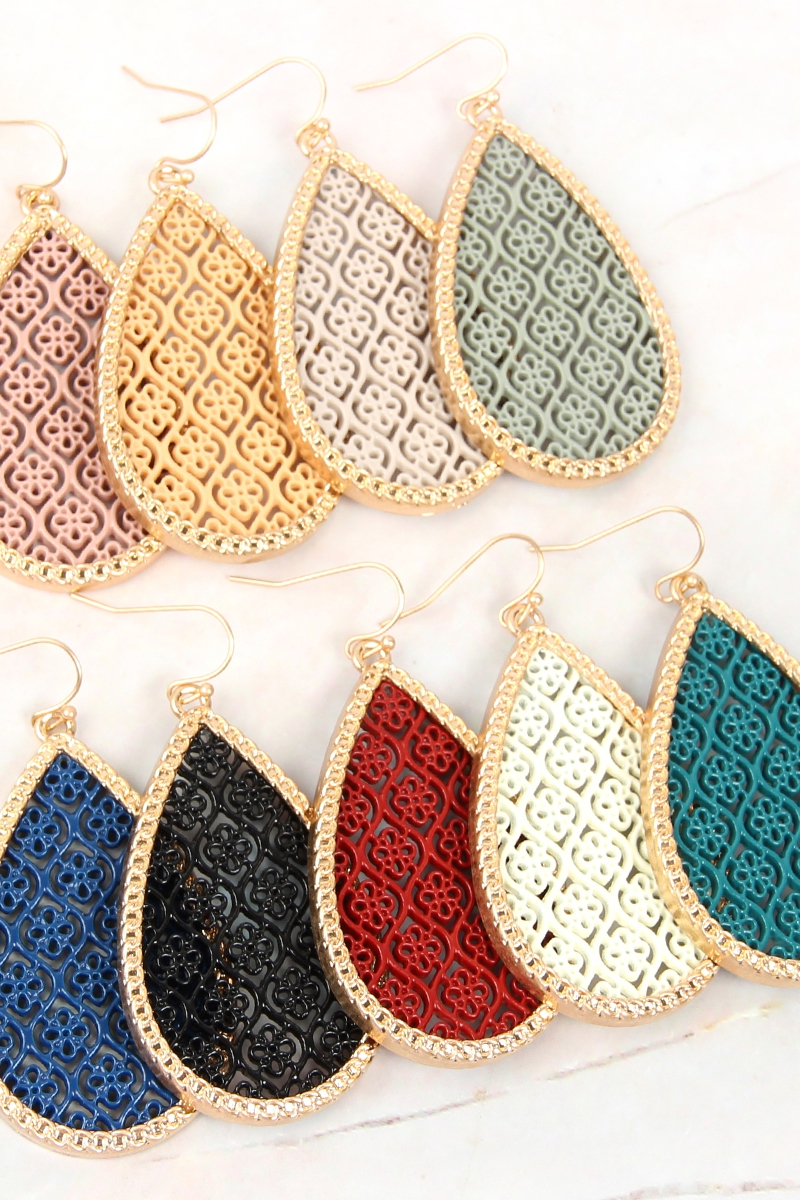 COLOR COATED TEARDROP FILIGREE EARRI - orangeshine.com