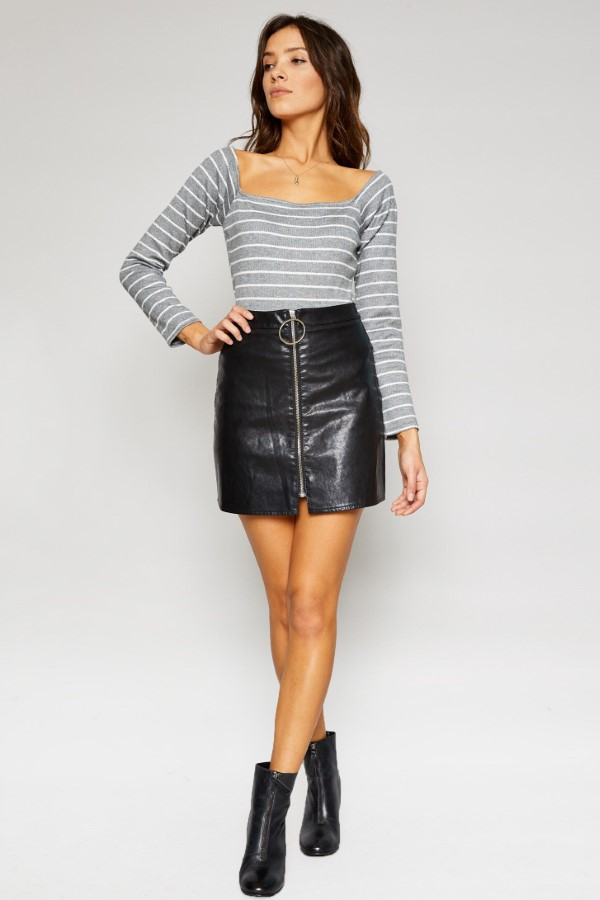 SIENNA STRIPE KNIT SQUARE TOP - orangeshine.com