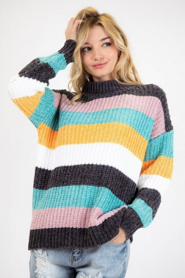 COLORBLOCK PANEL THICK KNIT SWEATER - orangeshine.com