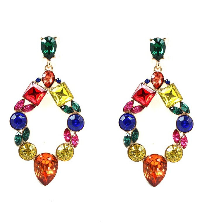 CRYSTAL STONE DROP POST EARRINGS - orangeshine.com