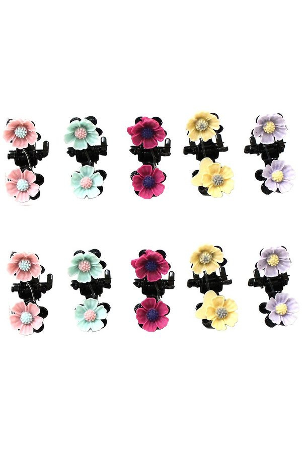 10 piece sets of flower hair clips - orangeshine.com