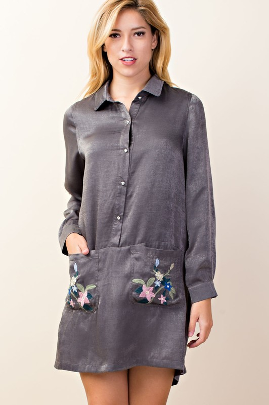 Embroidery Shirt Dress - orangeshine.com