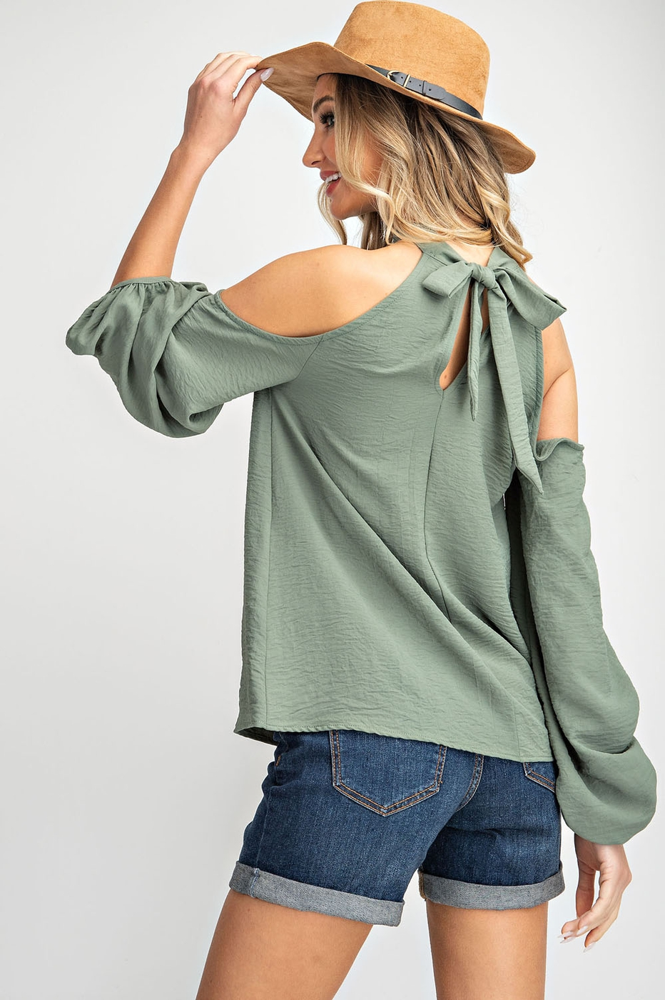HALTER NECK COLD SHOULDER WOVEN TOP - orangeshine.com
