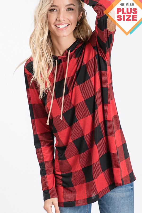PLUS PLAID HOODED TOP WITH ELBOW PAT - orangeshine.com