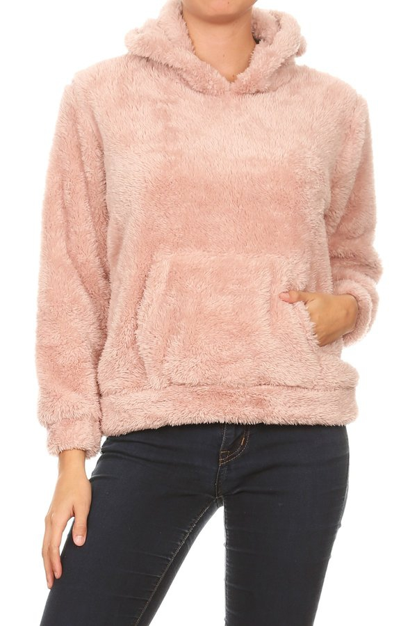 Fuzzy Faux Fur Winter Hoodie Sweater - orangeshine.com