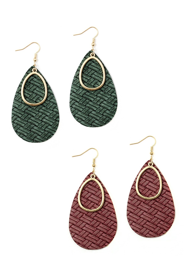 PU LEATHER TEARDROP SHAPE EARRINGS - orangeshine.com