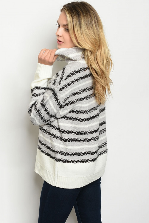 Long sleeve turtle neck sweater TOP - orangeshine.com