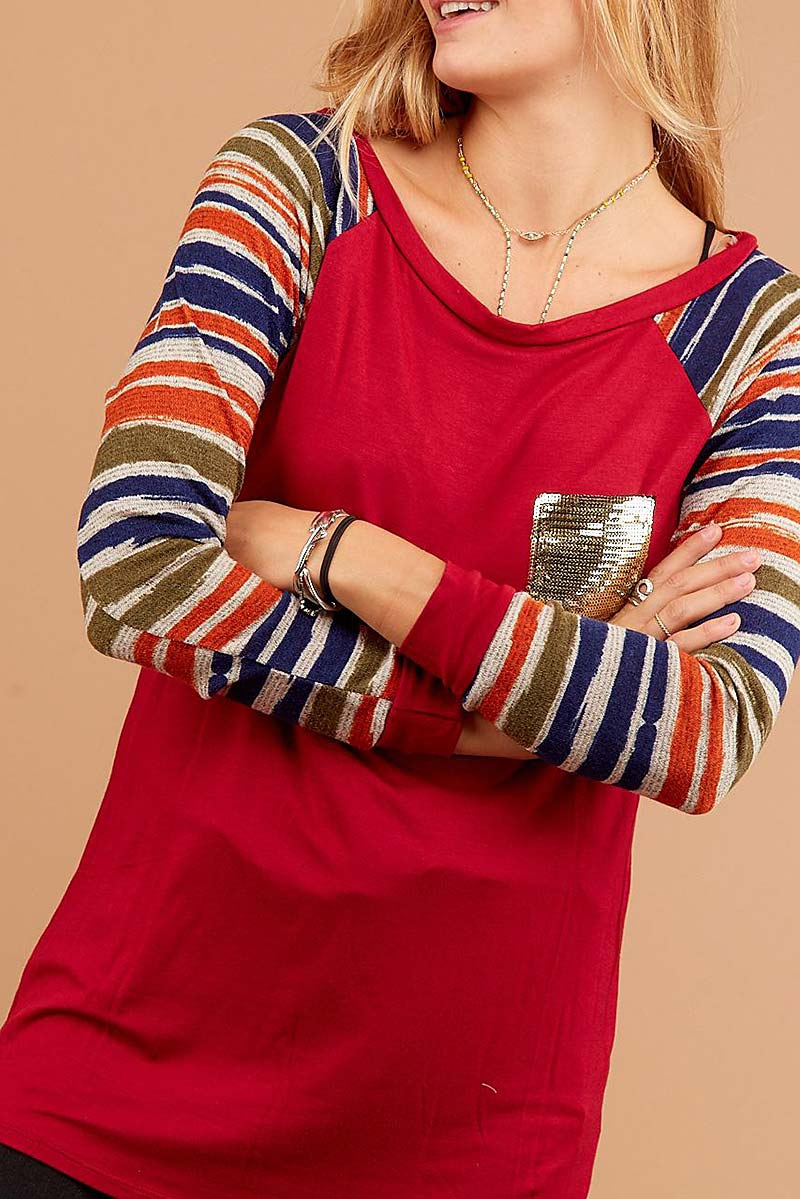 STRIPE SLEEVE COLOR BLOCK TOP  - orangeshine.com