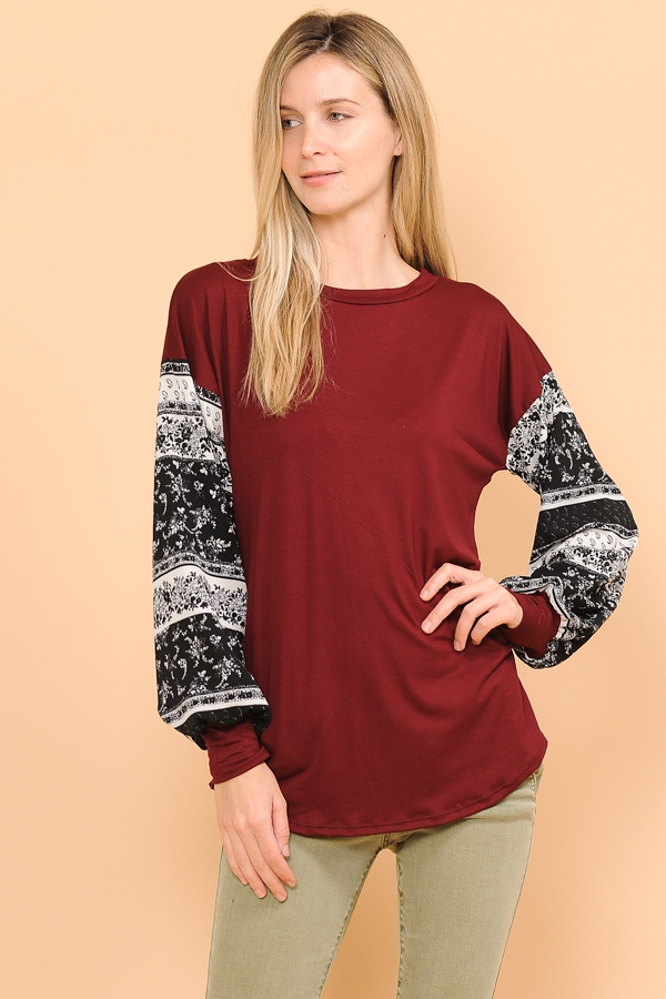 BUBBLE CONTRAST SLEEVE TOP - orangeshine.com