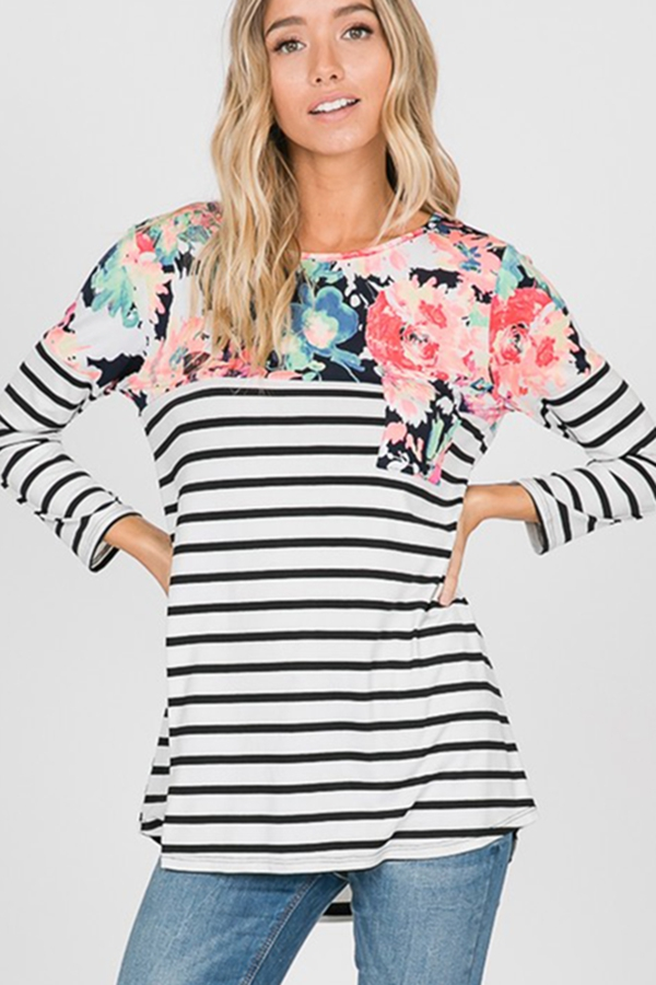 FLORAL AND STRIPE PRINT TOP - orangeshine.com