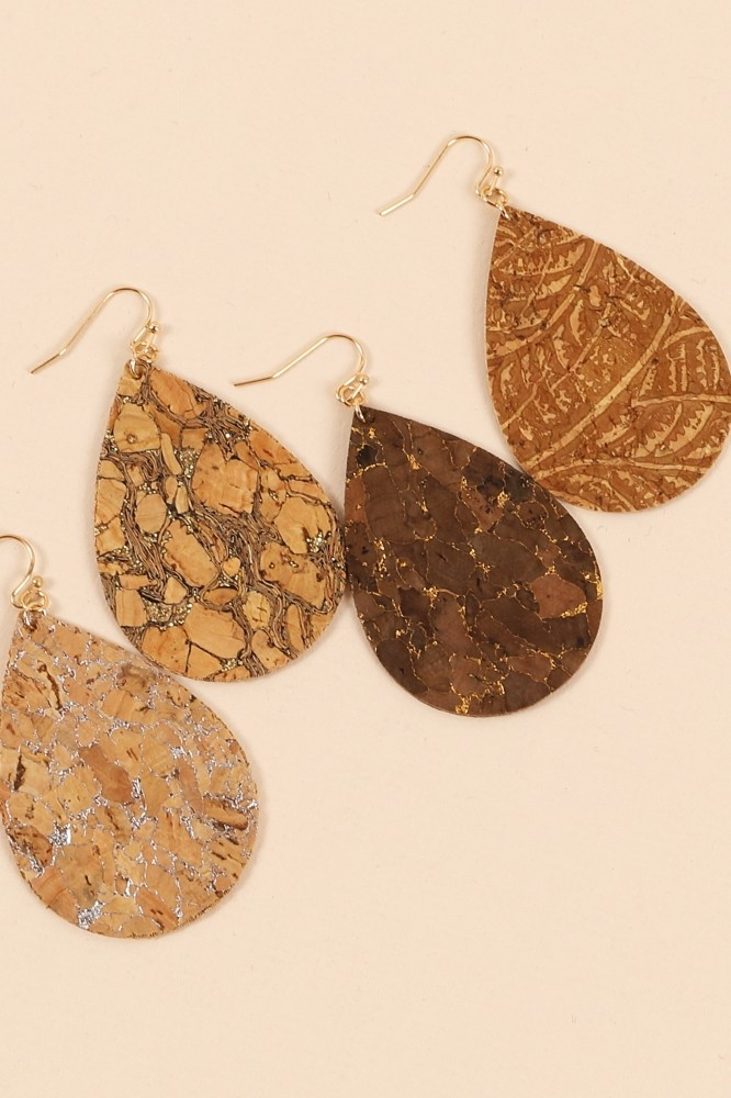 Tear Drop Cork Dangling Earrings - orangeshine.com