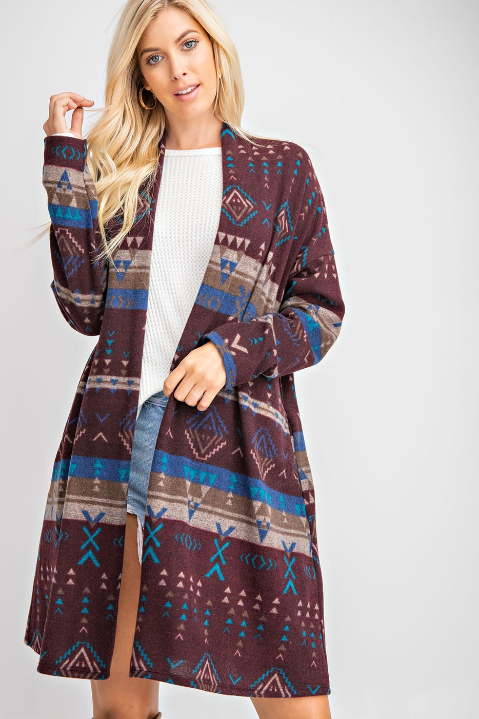 ETHNIC PRINT KNIT CARDIGAN WITH POCK - orangeshine.com