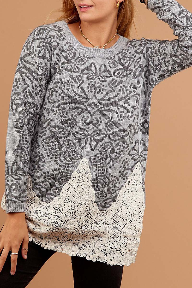 ARABESQUE LACE TRIMMED SWEATER  - orangeshine.com