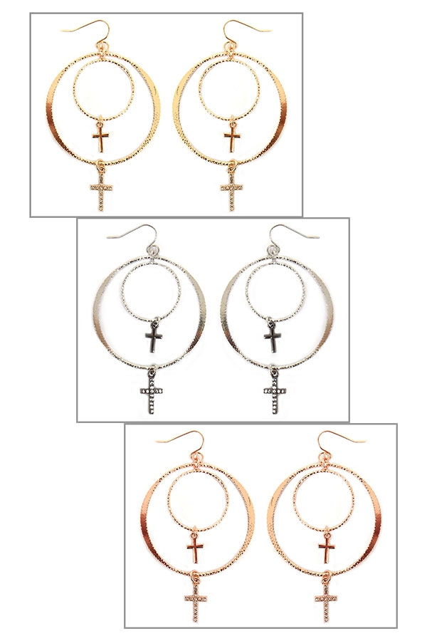 PAVE STONE RING CROSS DROP EARRINGS - orangeshine.com