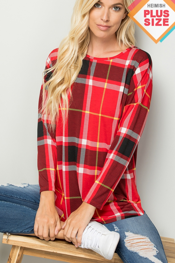 PLUS LONG SLEEVE ROUND NECK PLAID TO - orangeshine.com