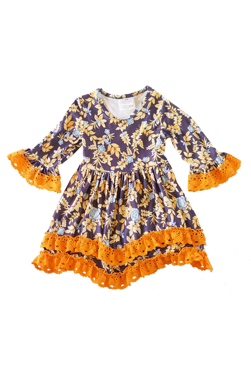 Navy floral orange trim ruffle lace  - orangeshine.com