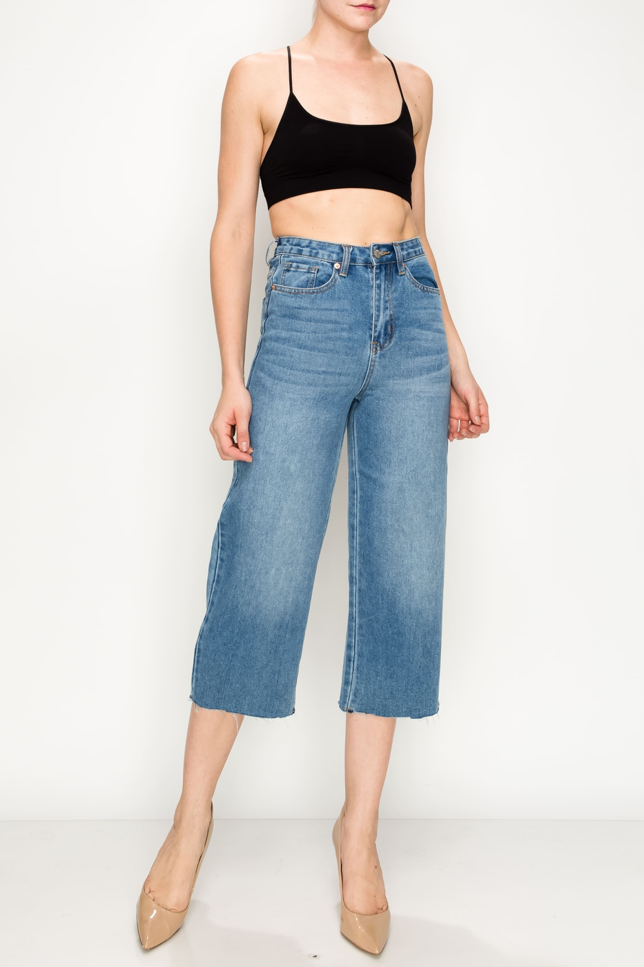 Medium Raw Cut Hem Wide Leg Jeans - orangeshine.com