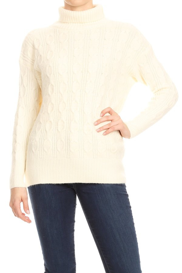 Thick Knit Turtleneck Sweater Winter - orangeshine.com