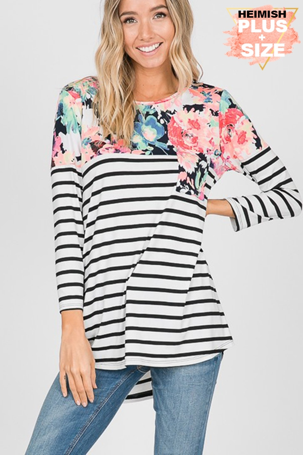 FLORAL AND STRIPE TOP WITH FRONT POC - orangeshine.com