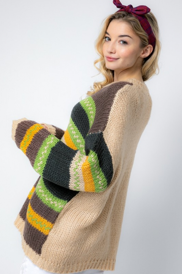 MULTI STRIPE KNIT SWEATER - orangeshine.com