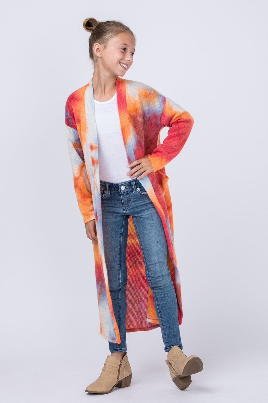 KIDS FUN TIE DYE LONG CARDIGAN - orangeshine.com