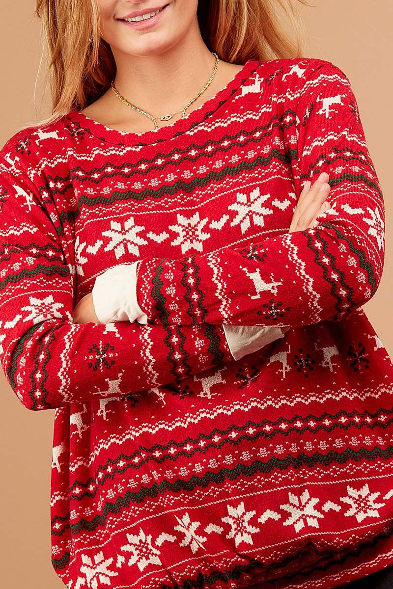 HOLIDAY PRINT BUBBLE SLEEVE SWEATER  - orangeshine.com