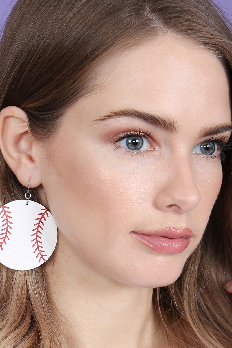 BASEBALL LEATHER FABRIC EARRINGS - orangeshine.com