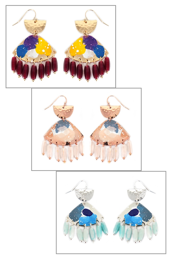 PAINTED DROP DANGLING EARRINGS - orangeshine.com