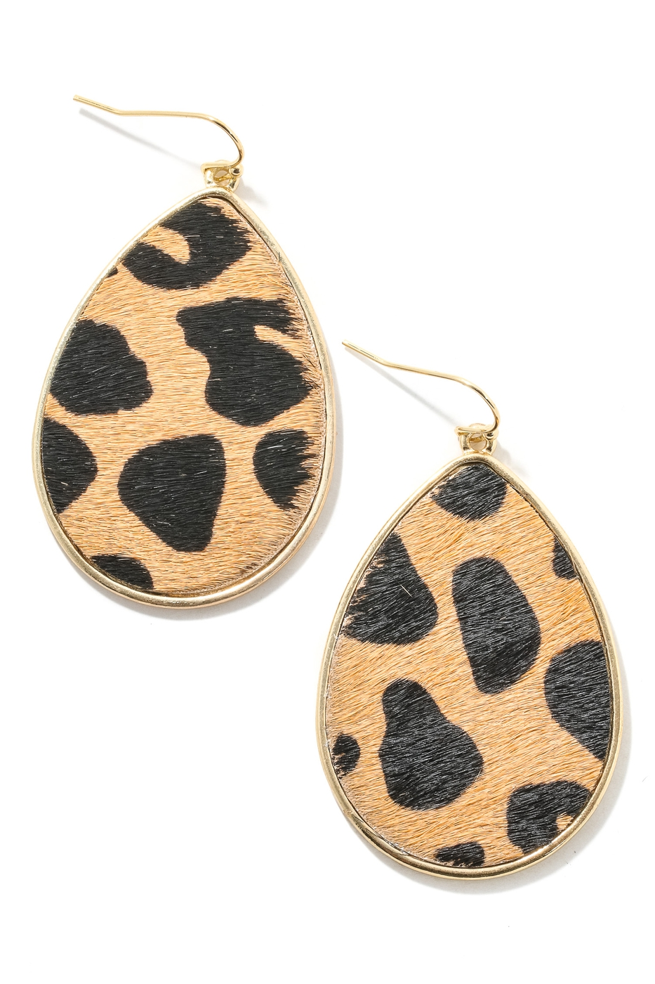 Leopard Print Tear Drop Hook Earring - orangeshine.com