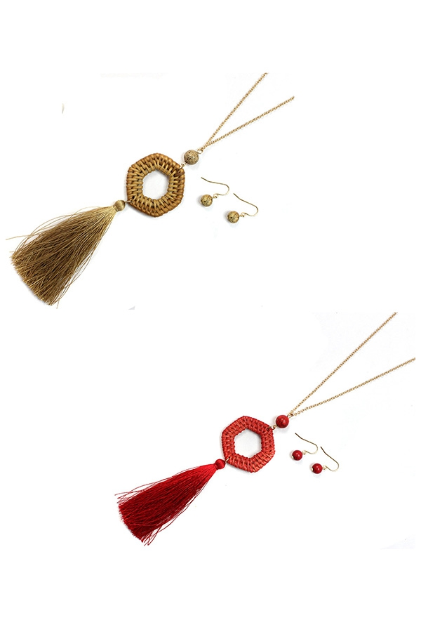 WOOD STRAW SILK TASSEL NECKLACES - orangeshine.com