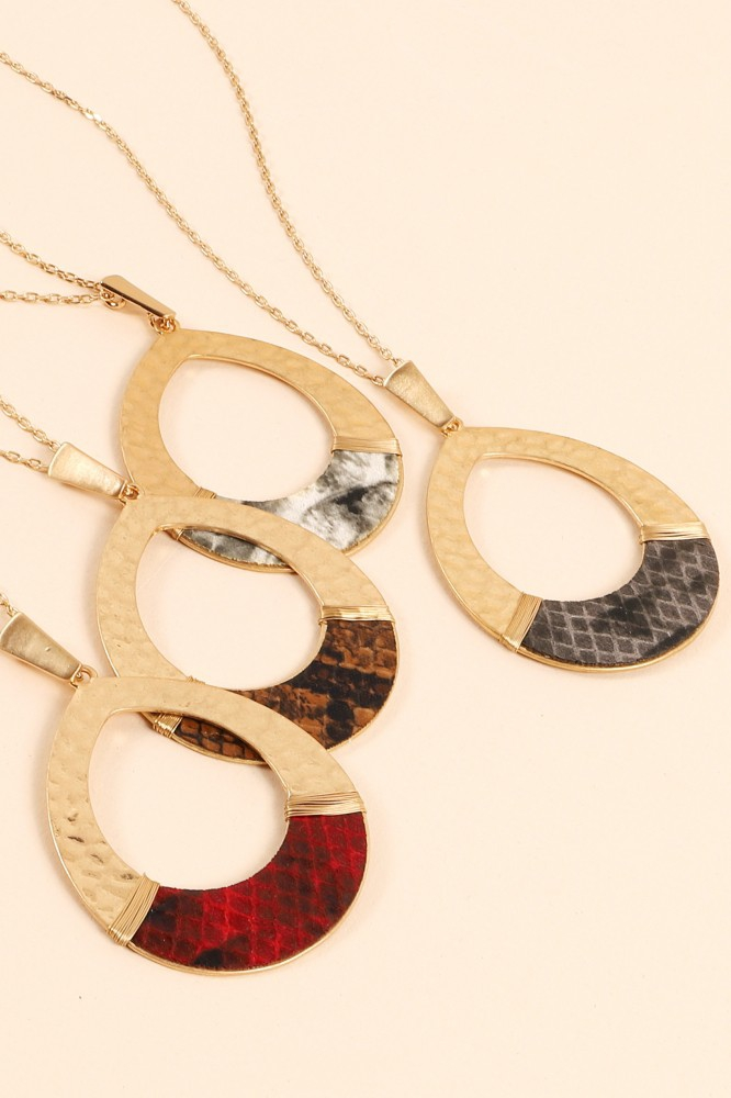 Snakeskin Leather Tear Drop Necklace - orangeshine.com