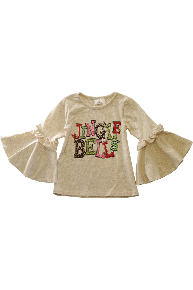 Jingle bells ruffle bell sleeve top - orangeshine.com