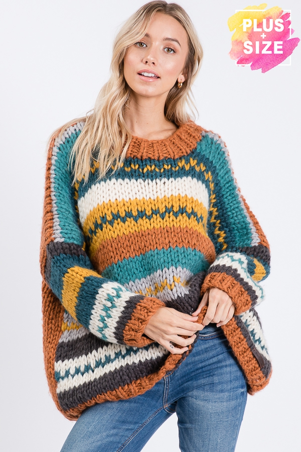 MULTI COLOR STRIPED SWEATER PLUS SIZ - orangeshine.com