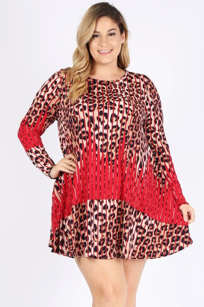 PLUS SIZE LEOPARD PRINT DRESS WITH P - orangeshine.com
