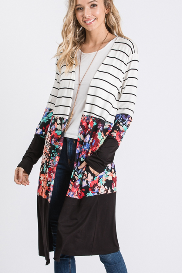 STRIPE AND FLORAL AND SOLID CARDIGAN - orangeshine.com