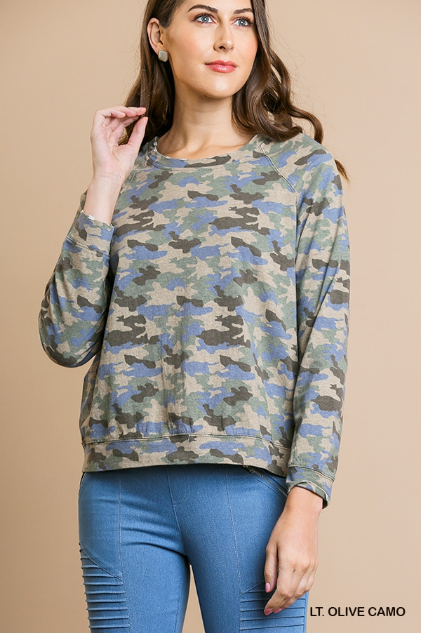 Camo Long Sleeve Round Neck Top - orangeshine.com
