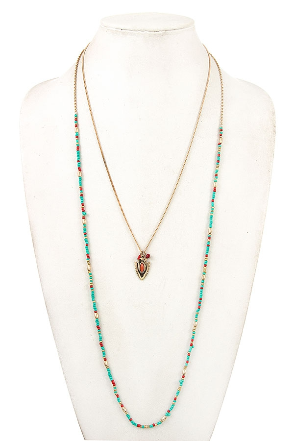 ARROWHEAD BEADED LONG NECKLACE  - orangeshine.com