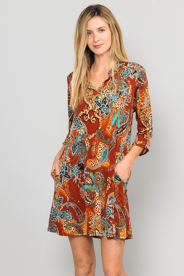 ROLL TAB SLEEVE MULTI PRINT DRESS  - orangeshine.com