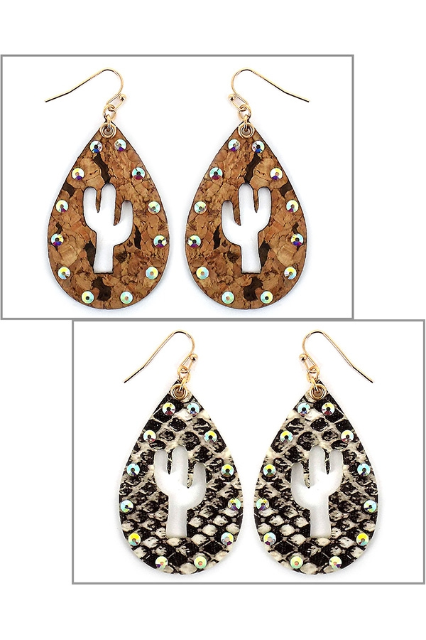 CACTUS CUTOUT LEATHER DROP EARRINGS - orangeshine.com