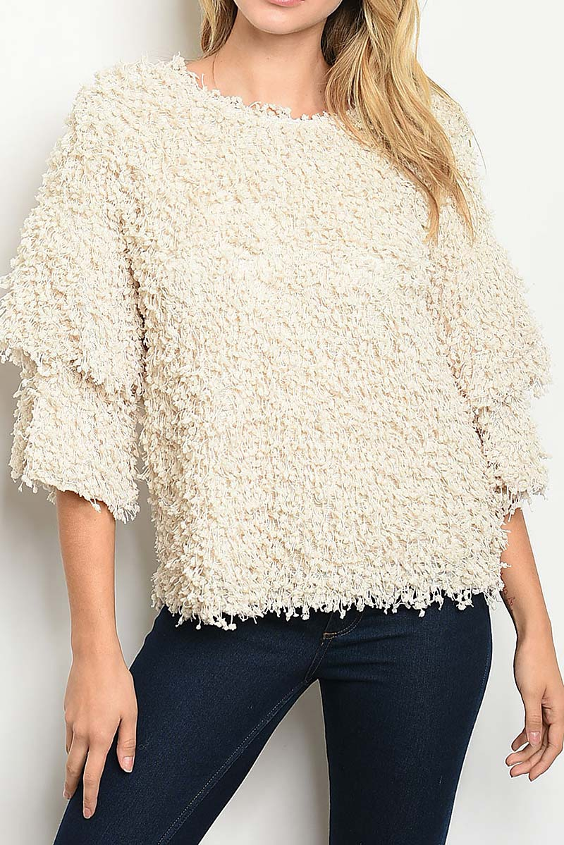 DOUBLE RUFFLE SLEEVE FUZZY SWEATER T - orangeshine.com