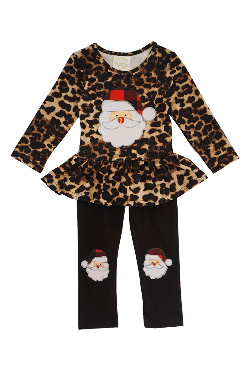 Leopard santa top with pants set - orangeshine.com