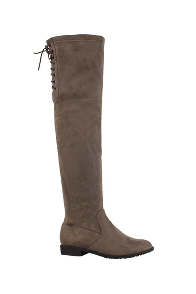 Yoki Drawstring Over Knee Flat Boots - orangeshine.com